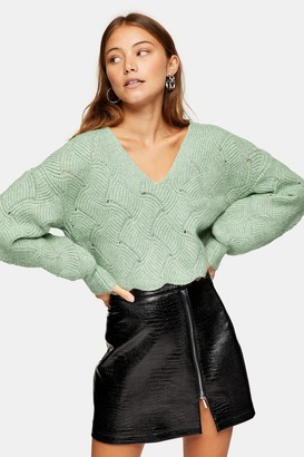Topshop Womens Green Stitch Knitted Jumper - Green
