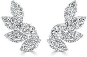 Overstock Diamond Cluster Ear Climber Earrings 14k Gold 1ct TDW by Joelle Collection
