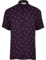 River Island Mens Purple lightning print casual shirt