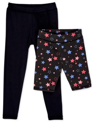 KensieGirl Kensie Girls Solid Active Leggings & Printed Bike Shorts, 2-Pack, Sizes 7-16
