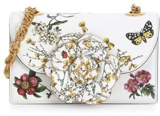 Oscar de la Renta Tro Floral Leather Crossbody Bag