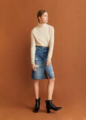 MANGO Heel leather ankle boot black - 6A - Women
