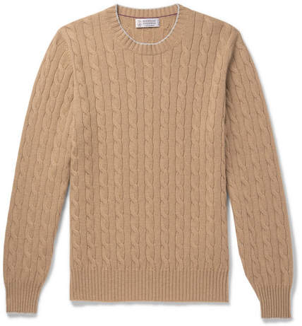 Brunello Cucinelli Contrast-Tipped Cable-Knit Cashmere Sweater - Men - Beige