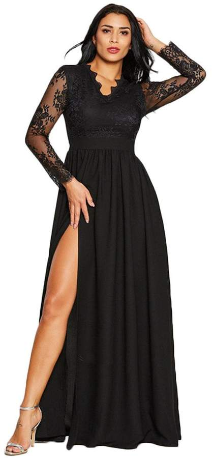 e302a25009 Black Sleeved Prom Dress - ShopStyle Canada