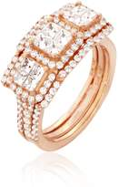 Ella Women Diamonds Ring.Round & Princess Diamonds ( Color), Invisible Setting, 14K Gold (rose-gold, 7.5)
