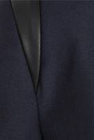 Cut25 Leather-trimmed twill blazer