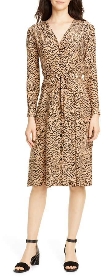 HVN Lauren Print Long Sleeve Silk Shirtdress