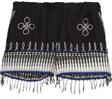 Lemlem Wubit Fringed Embroidered Cotton-blend Shorts - Midnight blue
