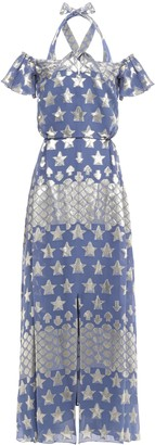 Temperley London Cold-shoulder Silk-blend Jacquard Maxi Dress