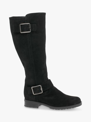 Gabor Prodigy Wide Fit and Wide Calf Suede Buckle Riding Boots, Black