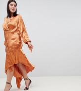 Asos DESIGN Curve soft floral jacquard midi dress with asymmetric hem