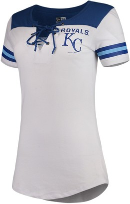 New Era Women's 5th & Ocean by White/Royal Kansas City Royals Baby Jersey Lace-Up V-Neck T-Shirt