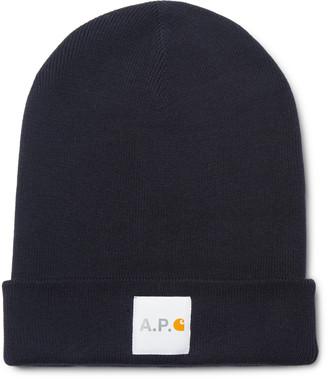 A.P.C. + Carhartt Wip Logo-appliqued Cotton And Cashmere-blend Beanie - Blue