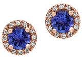 Effy Tanzanite, 0.07 TCW Diamonds and 14K Rose Goldplated Stud Earrings