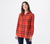Susan Graver Printed Stretch Woven Button Front Tunic Shirt