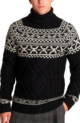 Karl Lagerfeld Paris Fair Isle Cable Turtleneck Sweater