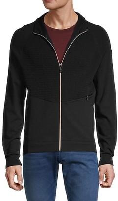 HUGO BOSS Zip-Front Cotton-Blend Sweater