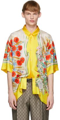 Gucci Yellow and White Silk Flowers Shirt
