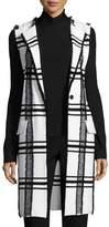 St. John Fil Coupe Plaid Jacquard Knit Long Vest