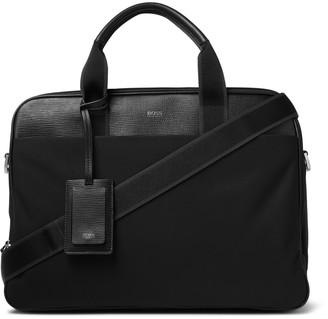 HUGO BOSS Meridian Full-Grain Leather-Trimmed Nylon Briefcase