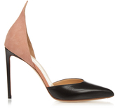 Francesco Russo Leather and suede point-toe pumps