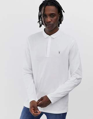 AllSaints Brace long sleeve ramskull logo polo shirt in white