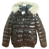 Moncler Fur Hood Black Polyester Jackets & Coats