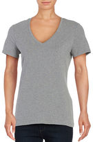 Lord & Taylor Cotton-Stretch V-Neck Tee