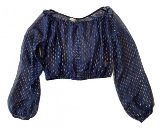 LoveShackFancy Navy Silk Top for Women