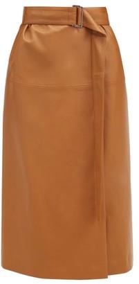 Joseph Salic Leather Wrap Midi Skirt - Camel