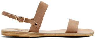 Ancient Greek Sandals Tan Suede Clio Sandals