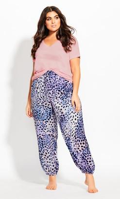 City Chic Woven Leopard Pj Pant - ochre