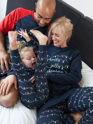 Very Unisex Family Christmas Light Pyjama Set - Black