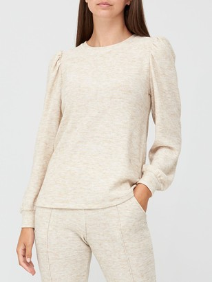 Very Long Sleeve Snit Crew Neck Top - Oatmeal
