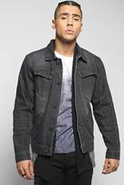 Boohoo Quincy Denim Jacket with Biker Detailing