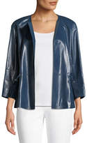 Lafayette 148 New York Kieran Lacquered Lamb Leather Jacket, Teal