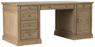 OKA Edward Weathered Oak Desk with Cupboard - Wood