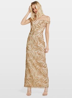 Miss Selfridge Metallic Embroidered Bardot Maxi Dress