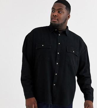 ASOS DESIGN Plus oversized organic denim shirt with double pockets in black