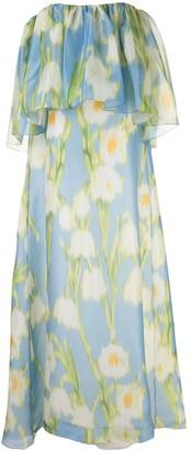 Carolina Herrera Floral-Print Off-Shoulder Gown