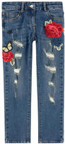MonnaLisa Girl skinny fit jeans with embroidered flowers