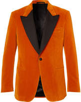Kingsman - Eggsy's Orange Faille-Trimmed Cotton-Velvet Tuxedo Jacket