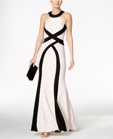 Xscape Evenings Colorblocked Open-Back Halter Gown