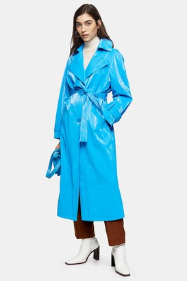 Topshop Womens Bright Blue Pu Trench - Blue