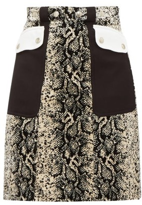 Giambattista Valli Patch-pocket Snakeskin-print Velvet Mini Skirt - Beige Multi