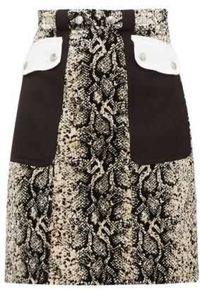 Giambattista Valli Patch-pocket Snakeskin-print Velvet Mini Skirt - Beige Multi