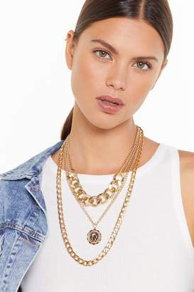 Nasty Gal Womens Layer It On Chunky Chain Necklace - Metallics - One Size