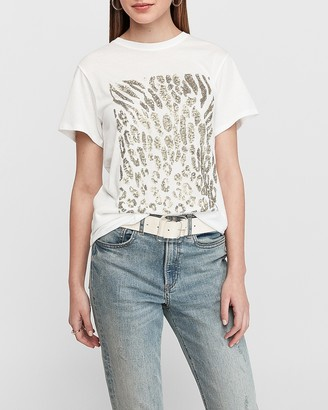 Express Sequin Animal Print Graphic T-Shirt