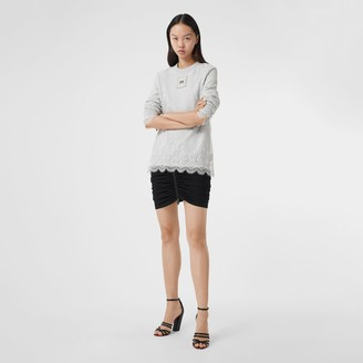 Burberry Logo Applique Lace Oversized Sweatshirt