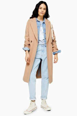 Topshop Womens Camel Double Breasted Coat - Camel